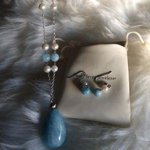 Beautiful milky blue topaz necklace